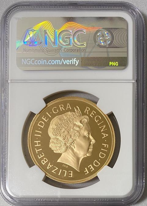 グレートブリテン2001年エリザベスII世5ポンドプルーフ金貨NGC-PF70UCAM