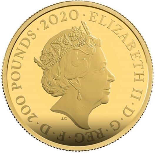 【動画あり】グレートブリテン2020年エリザベスII世2オンス200ポンドプルーフ純金金貨ジェームズボンド007PCGS社PR70DCAM箱付き-39301230