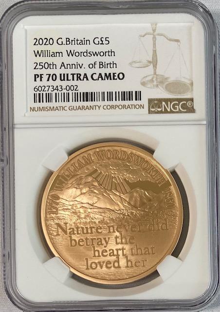 グレートブリテン2020年エリザベスII世ウィリアム・ワーズワース生誕250周年記念5ポンドプルーフ金貨NGC-PF70UCAMEO-6055704-009
