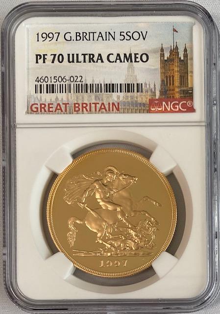 グレートブリテン1997年エリザベスII世5ポンドプルーフ金貨NGC-PF70UCAM
