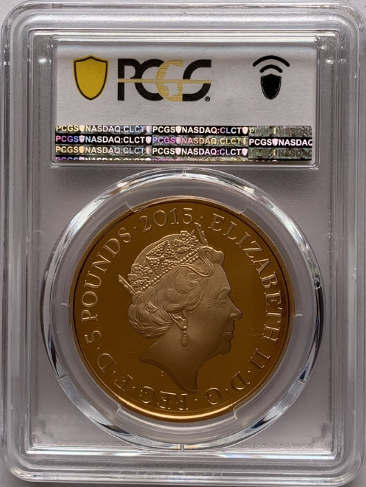 グレートブリテン2015年バトル・オブ・ワーテルロー200年エリザベスII世5ポンドプルーフ金貨PCGS-PR70DCAM箱付き