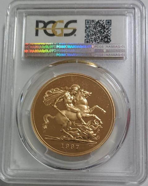 グレートブリテンエリザベス5ポンドプルーフ金貨  1997 5 POUNDS PCGS PR69DCAM