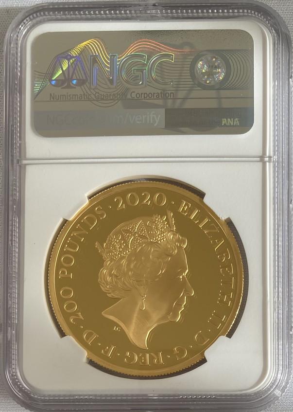グレートブリテン2020年音楽の伝説シリーズクイーン2オンス200ポンドプルーフ金貨NGC-PF70UCAMオリジナル箱付き