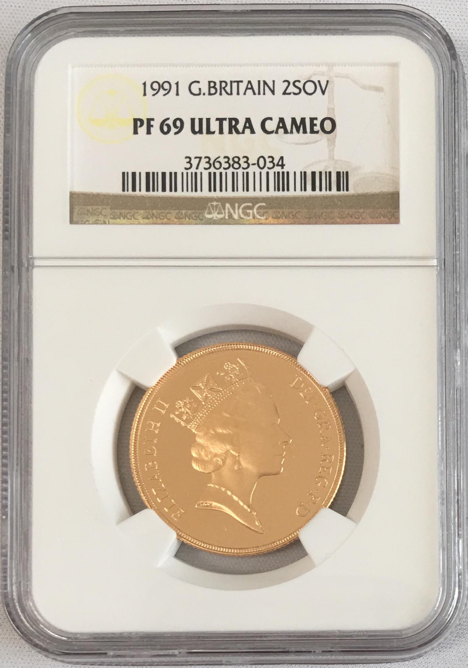 【動画あり】1991グレートブリテン 2ソブリン金貨PF69 UCAM NGC