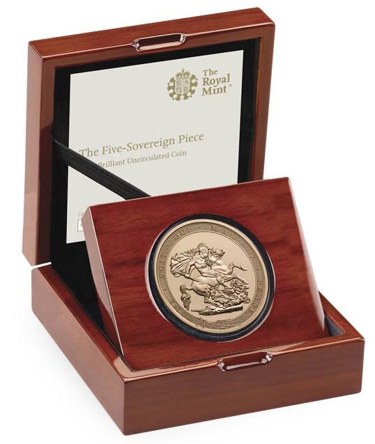 グレートブリテン2017年エリザベスII世 200周年記念5ポンド金貨 オリジナル箱付き