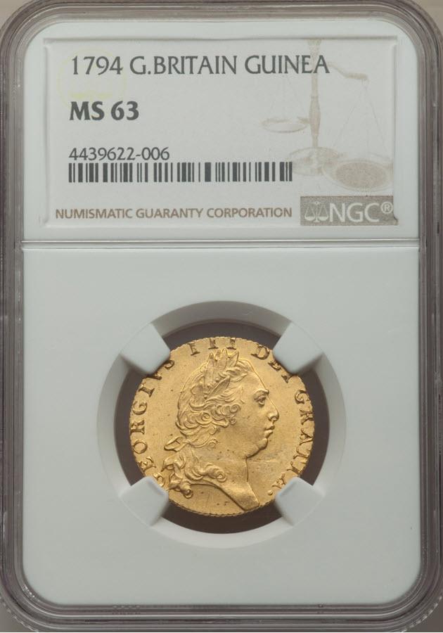 グレートブリテン ジョージ3世 1794年1ギニー金貨 NGC MS63