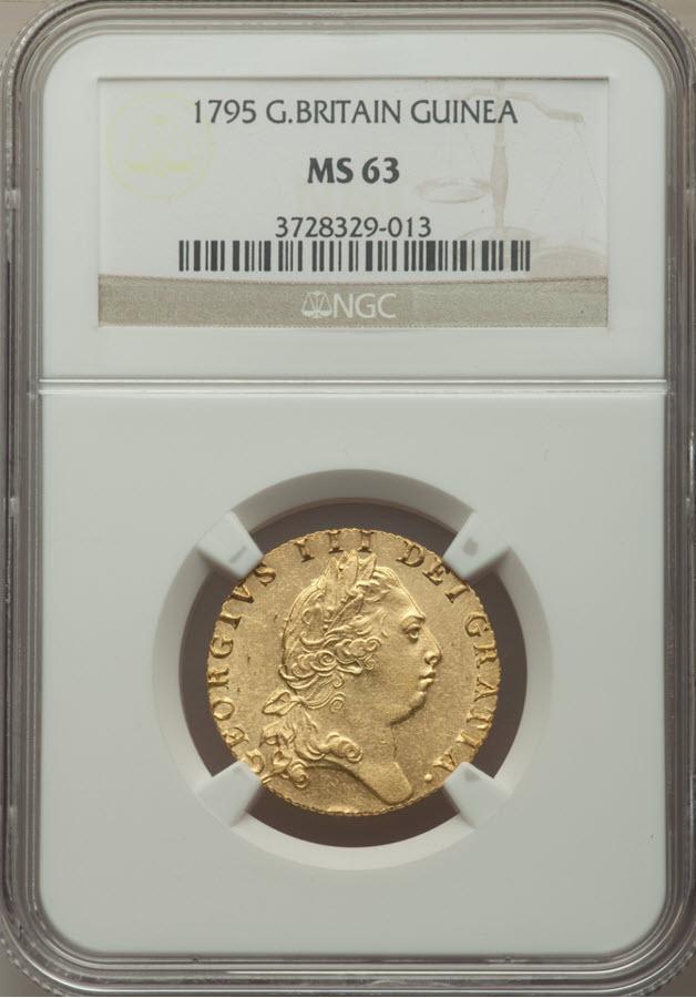 グレートブリテン ジョージ3世 1795年1ギニー金貨 NGC MS63