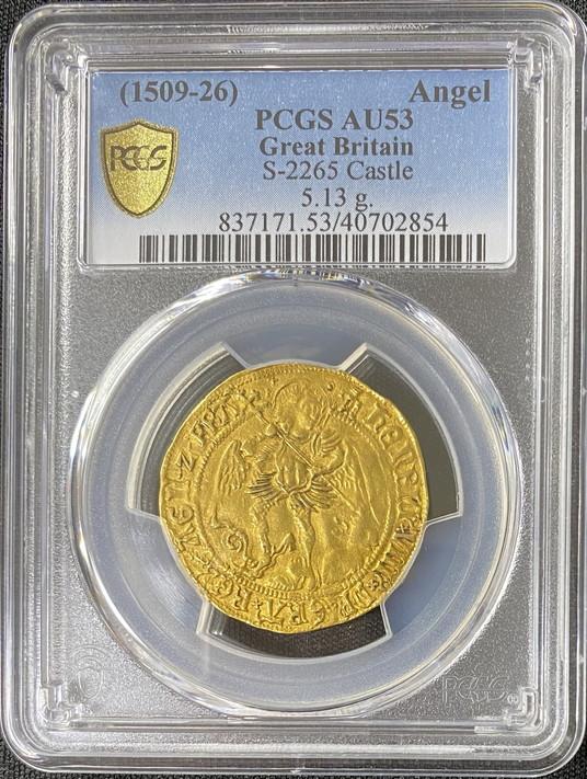 グレートブリテン ヘンリー8世 (1509-1526) ゴールドエンジェル ND (1544-1547)PCGS-AU53