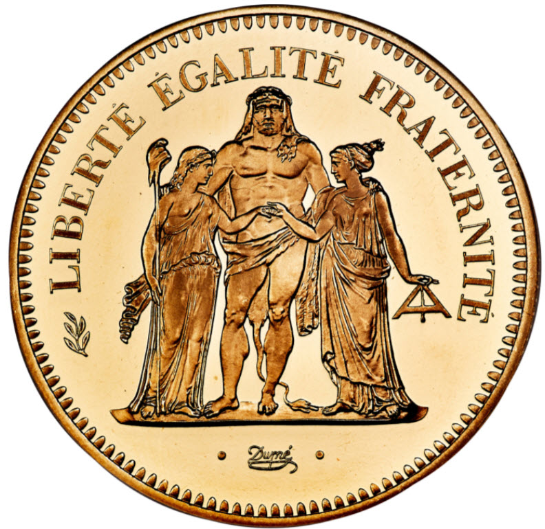 フランス1980年リパブリックプルーフ金貨ピエフォー50フランNGC社-PF66UCAM