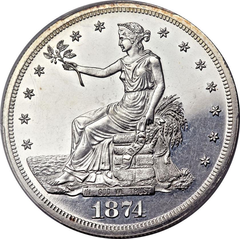 最終セール品【動画あり】アンティークコイン アメリカ 1ドル トレードダラー銀貨 1874 T$1 PR63 Cameo PCGS