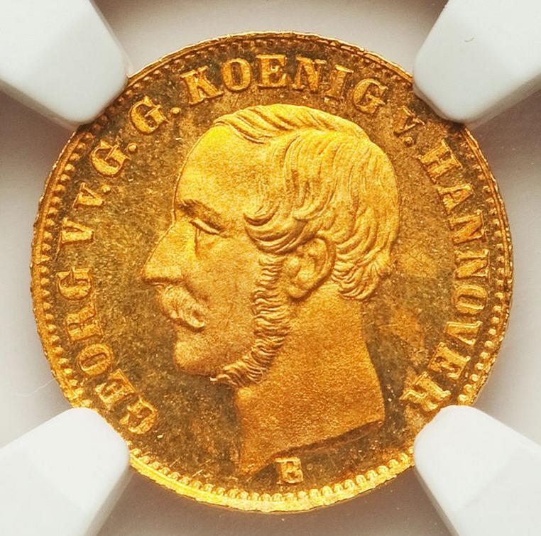 【動画あり】ドイツ2.5ターラー金貨 Hannover. Georg V gold 2-1/2 Thaler 1855-B MS65 Prooflike NGC
