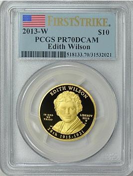 【動画あり】2013-Wエディス ウィルソン10ドル金貨 $10 PCGS PR70-DCAMファーストストライク
