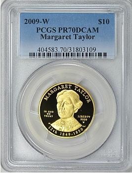 【動画あり】2009-W 10ドル金貨マーガレット テイラー$10 PCGS Proof 70 DCAM