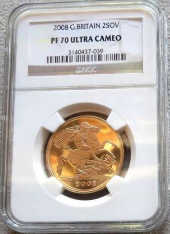 【動画あり】2008グレートブリテン 2ソブリン金貨PF70 UCAM NGC