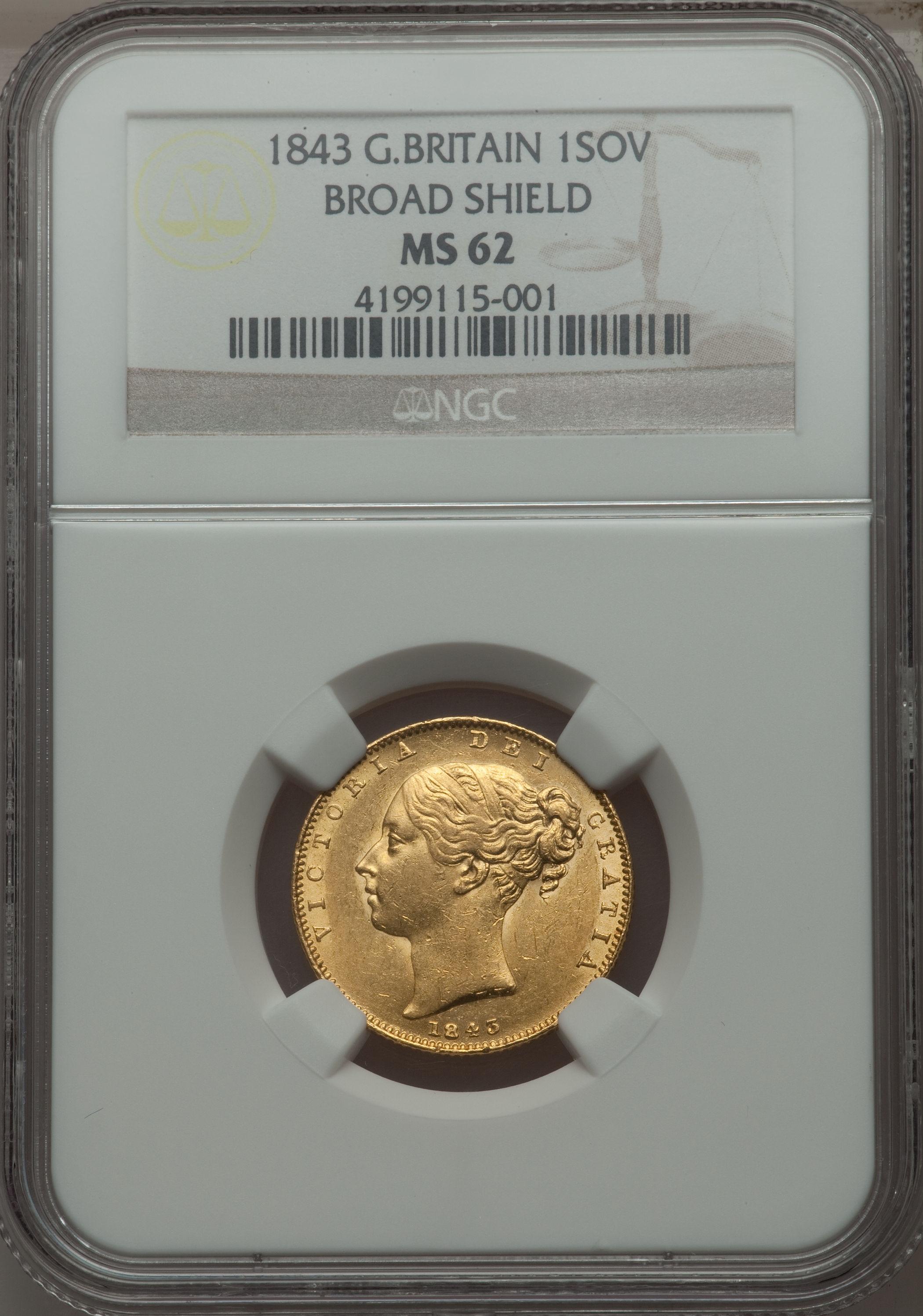 【動画あり】アンティークコイン グレートブリテン金貨 Victoria gold Sovereign 1843 MS62 NGC Royal mint, KM736.1, S-3852. Board Shield variety