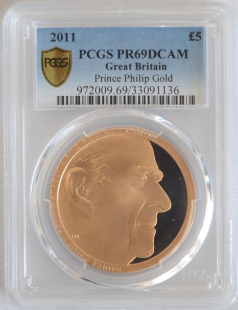 決算セール品【動画あり】2011フィリップ殿下5ポンド金貨Prince Philip Au PR69DCAM PCGS