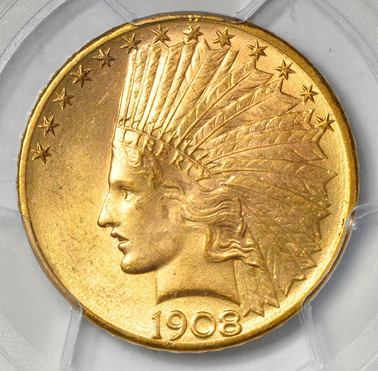 アメリカ 10ドル金貨インディアンヘッド1908-D MOTTO $10 PCGS MS64