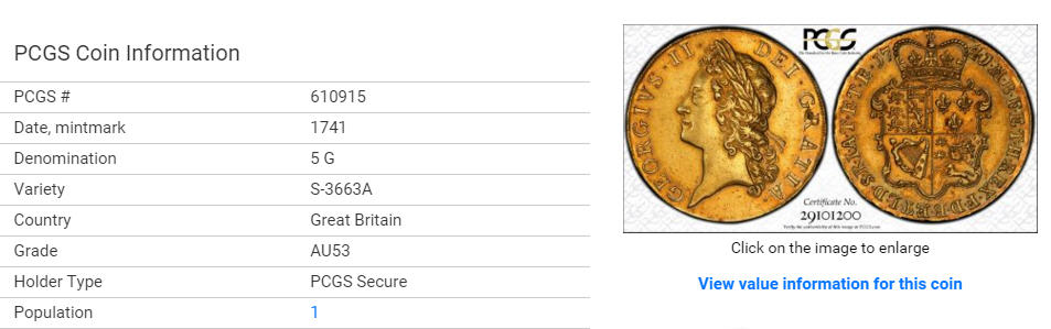 商談中【動画あり】グレートブリテン1741/38年5ギニー金貨ジョージ2世 AU53 PCGS レタードエッジ