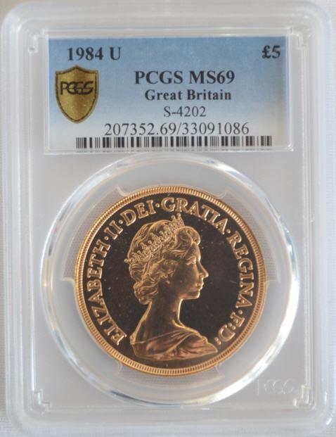 【動画あり】1984U エリザベス5ポンド金貨 MS69 PCGS