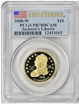 【動画あり】2008-W ジャクソンズ・リバティ10ドル金貨 $10 PCGS PR70DCAM ファーストストライク