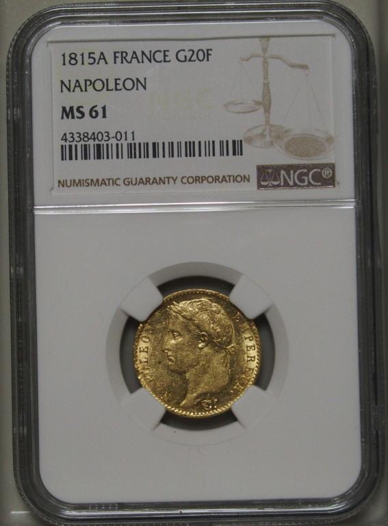 【動画あり】フランス1815-A ルイナポレオン1世20フラン金貨NGC MS61