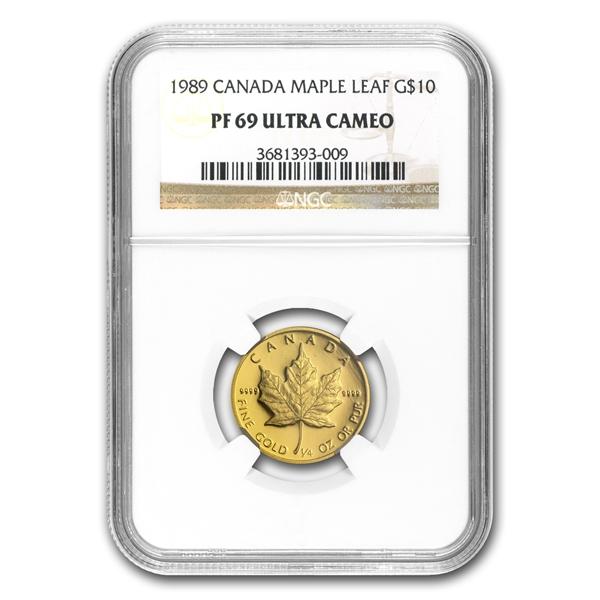 1989メイプルリーフ金貨4枚組コイン 1 1/2 1/4 1/10オンス NGC PF69 UCウルトラカメオ