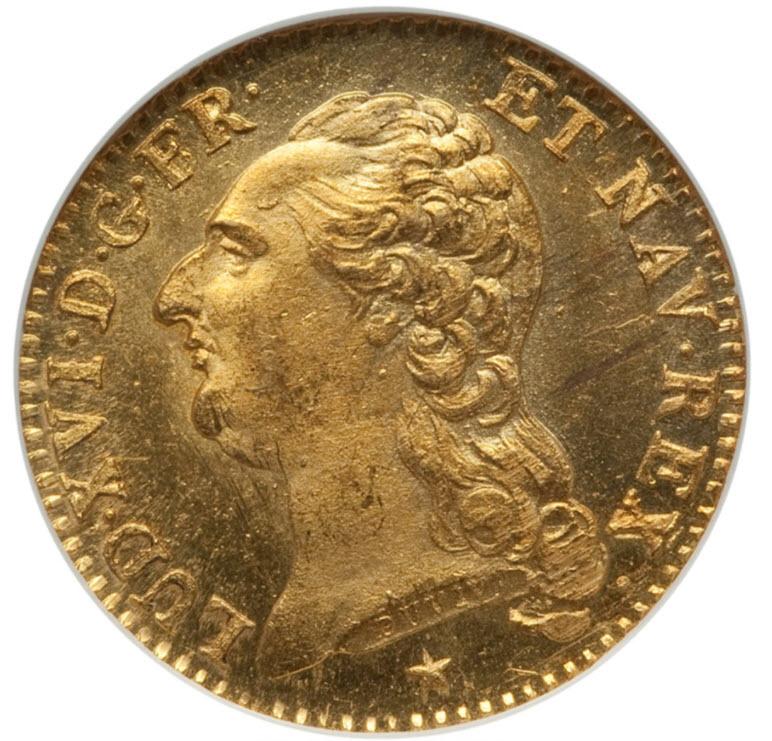 アンティークコイン-フランス-ルイ16世ルイドール金貨1786W-NGC-MS63