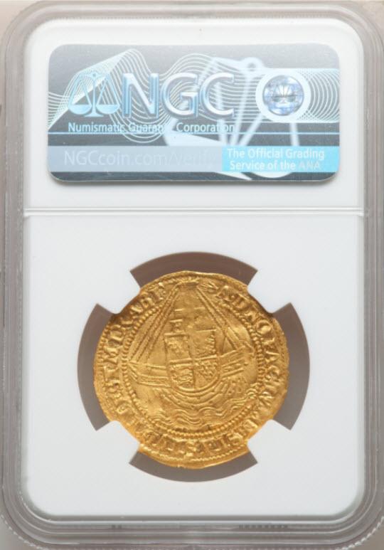 グレートブリテン エリザベス1世(1558-1603)エンジェル金貨(1590-1592)NGC-MS63