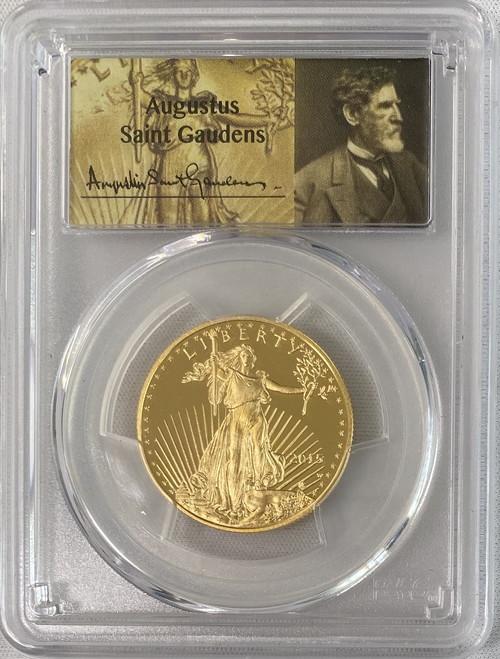 4枚セットアメリカ50・25・10・5ドル金貨ゴールドイーグル2015-W-$50PCGS PR70DCAMセントゴーデンズサイン入り