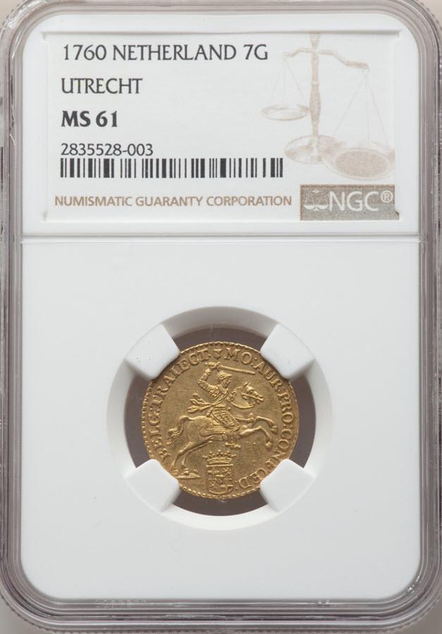 オランダ ユトレヒト 7ギルダー 1760 MS61 NGC
