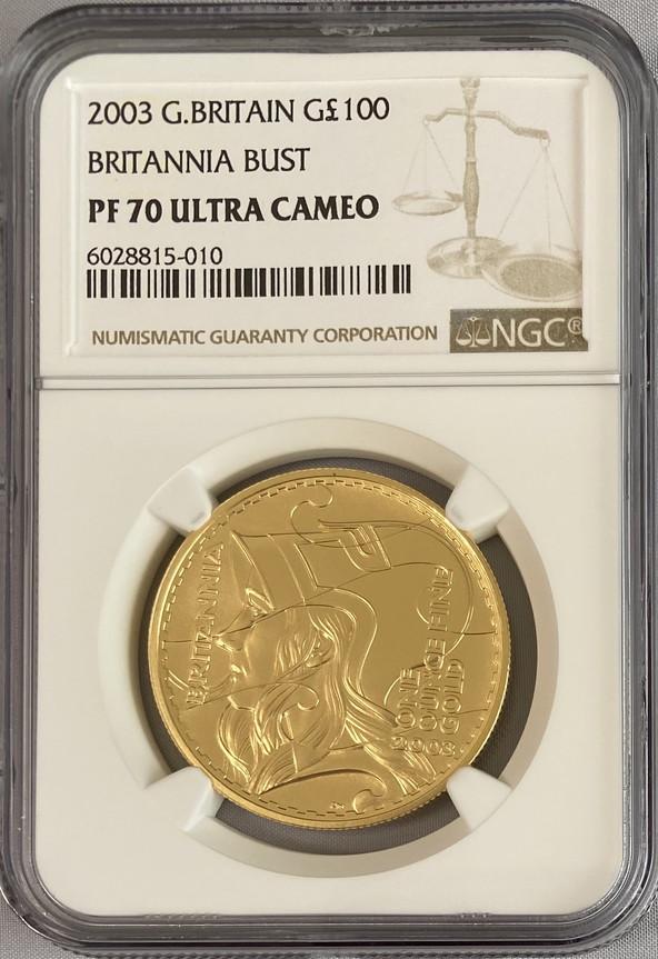 【動画あり】グレートブリテン2003年BUSTブリタニア100ポンド金貨NGC-PF70UCAM