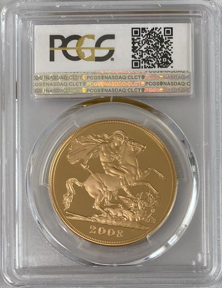 【動画あり】グレートブリテン2008年エリザベスII世5ポンドプルーフ金貨PCGS-PR70DCAM