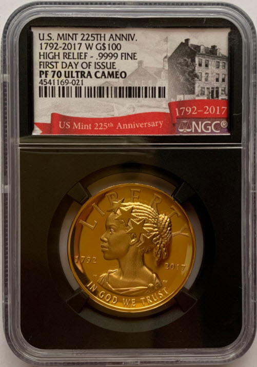 2017年225周年アメリカンリバティ ハイリリーフ100ドルプルーフ金貨NGC-PF70UCAMファーストデイオブイシュー