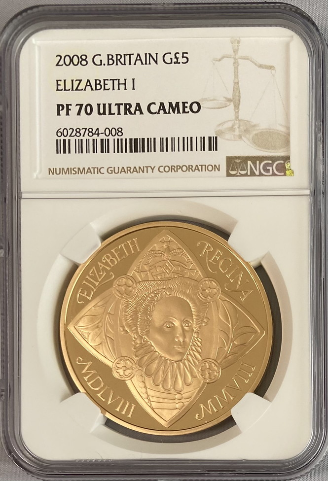 グレートブリテン2008年クイーンエリザベスI世戴冠450周年5ポンド金貨NGC-PF70UCAM-6028784-008