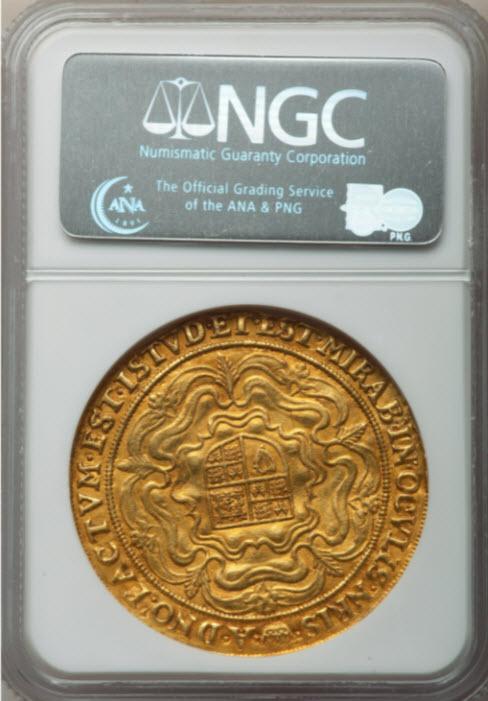 グレートブリテンジェームズ1世(1607-1609)ローズロイヤル金貨NGC-AU50