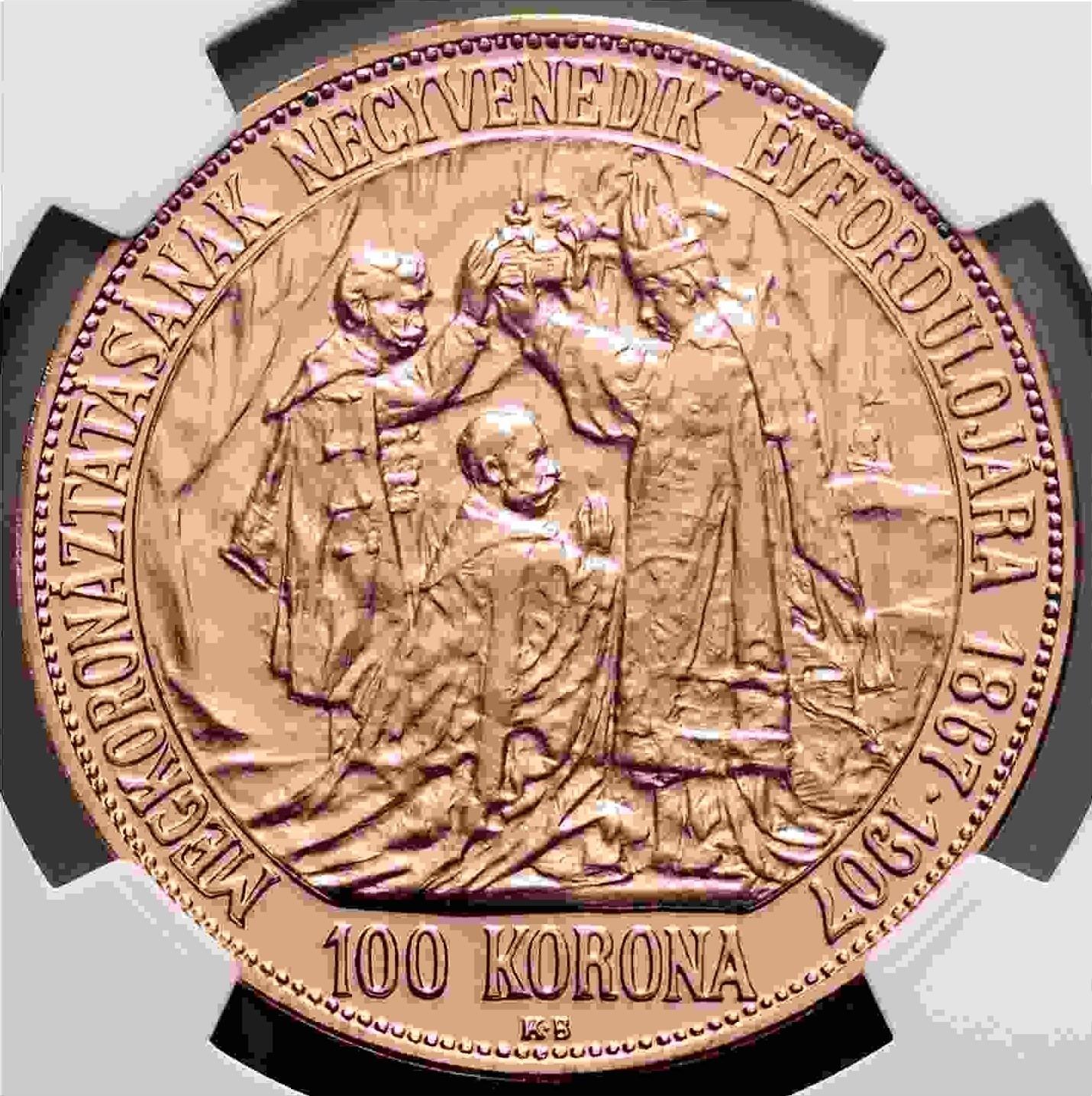 【動画あり】チェコ・スロバキア 2017年 フランツ・ヨーゼフ1世 皇帝戴冠式150周年記念 100コロナ3枚セット 金 プラチナ 銅 NGC-PF70