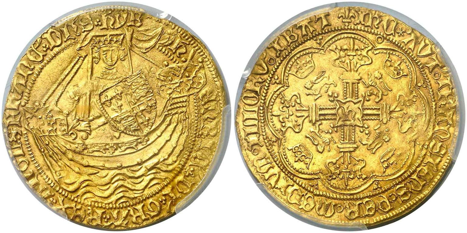 【動画あり】アンティークコイン グレートブリテン ヘンリー6世(First Reign, 1422-1430)ゴールド ノーブルPCGS-MS-62
