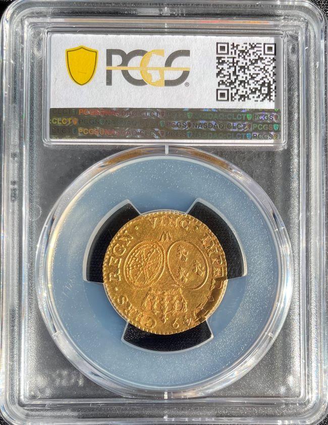 フランス 1749年 ルイドール金貨 ルイ15世 gold Louis d'or 1749-W PCGS MS63