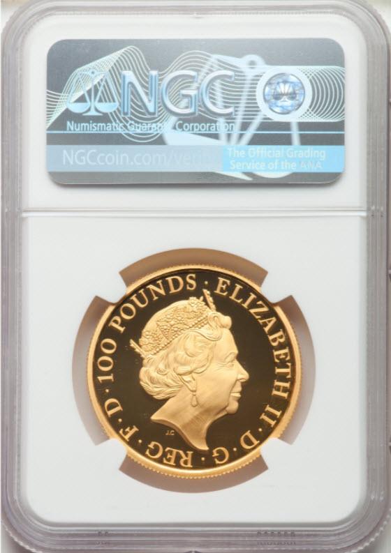 【動画あり】グレートブリテン クイーンズビースト2018年 レッドドラゴン100ポンド金貨NGC-PF70UCAM4646560-004