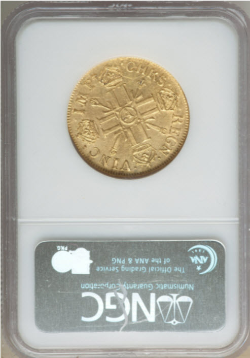 フランス 1702-A年 ルイ14世 2ルイドール金貨 NGC-AU58