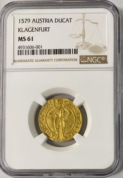オーストリア1579年カール2世ダカット金貨NGC-MS61