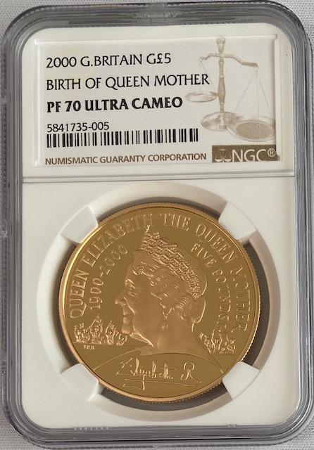 【動画あり】グレートブリテン2000年エリザベス女王5ポンド金貨クイーンマザーNGC-PF70UCAM