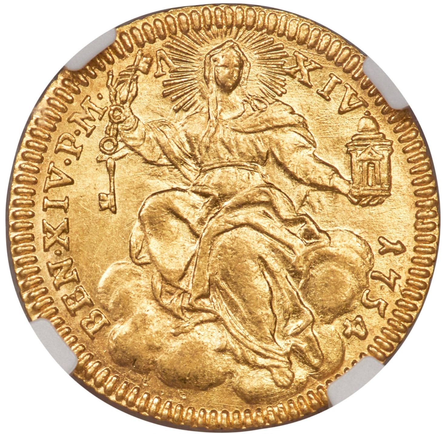 イタリア ベネディクトゥス14世 ゴールド ゼッキーノ (1754) MS63 NGC