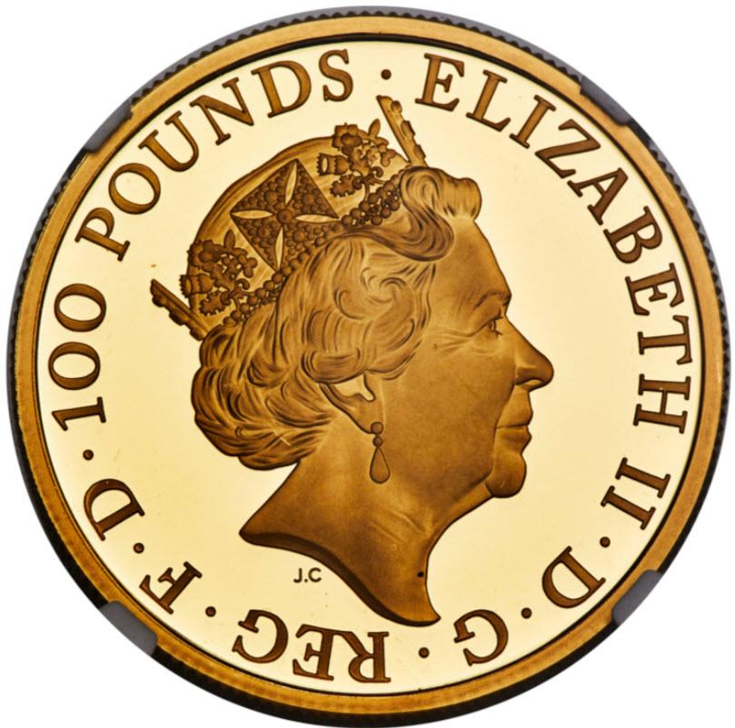 【動画あり】グレートブリテン クイーンズビースト2019年 ボーフォート家のエアレー アーリーリリース 100ポンド金貨 NGC PF70UCAM4955637-004