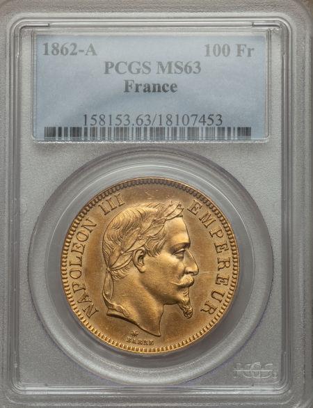 【動画あり】アンティークコイン フランス金貨 エンペラー ナポレオン III Napoleon III gold 100 Francs 1862-A MS63 PCGS