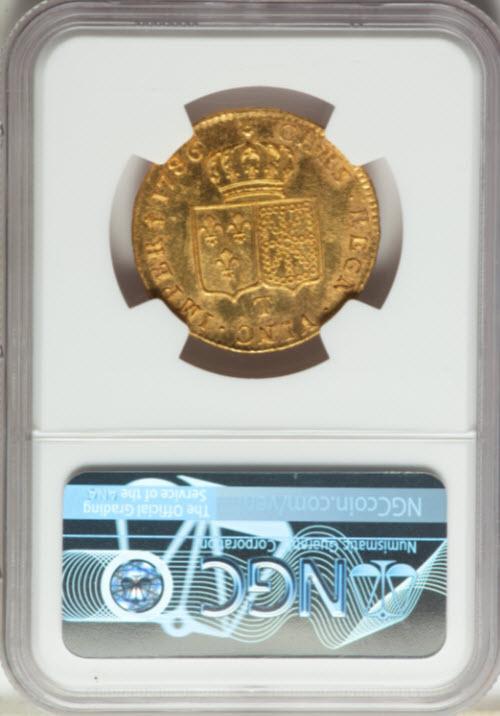 フランス1786-T年ルイ16世2ルイドール金貨プルーフライクNGC-MS62