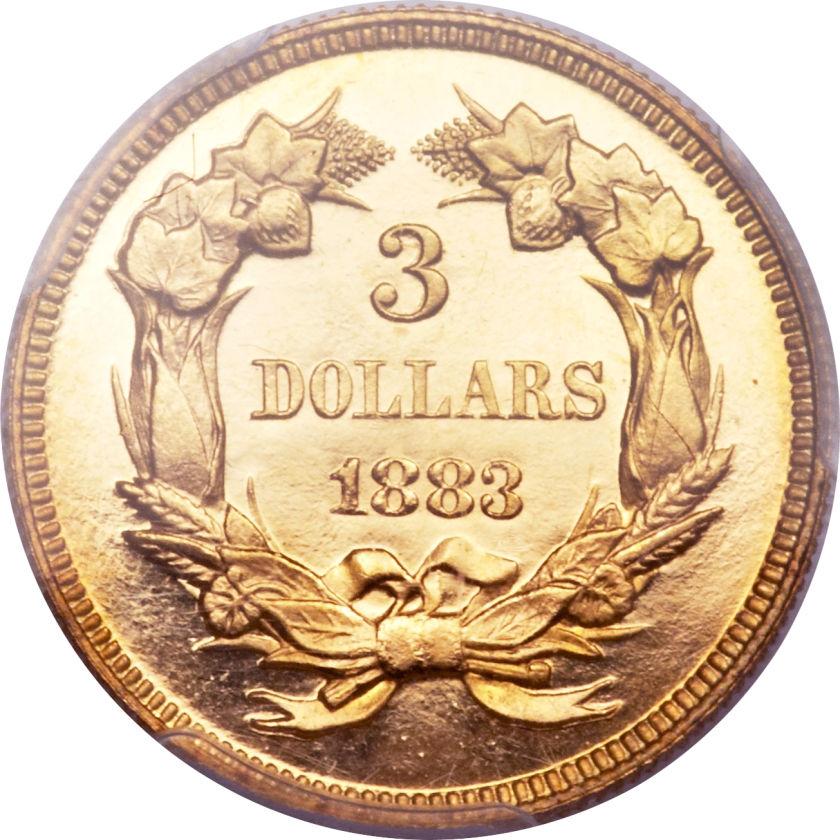 アンティークコイン アメリカ 3ドル金貨インディアンプリンスヘッド1883 $3 Proof64+ Deep Cameo PCGS. CAC