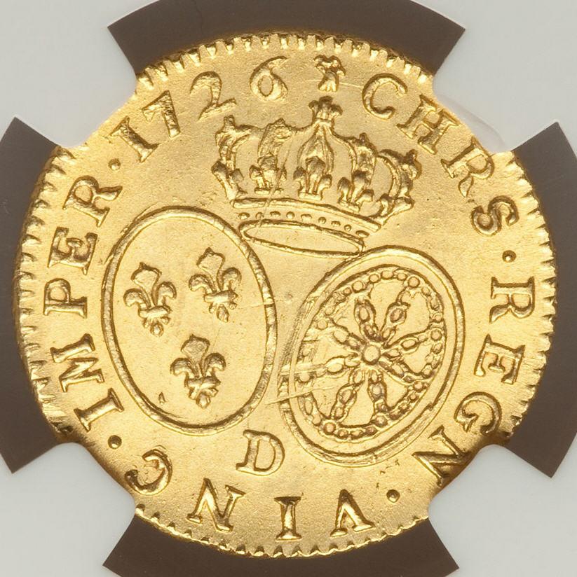 【 動画ありトップグレード残存1枚】フランス ルイドール金貨 Louis XV gold Louis d'or 1726-D MS64 NGC
