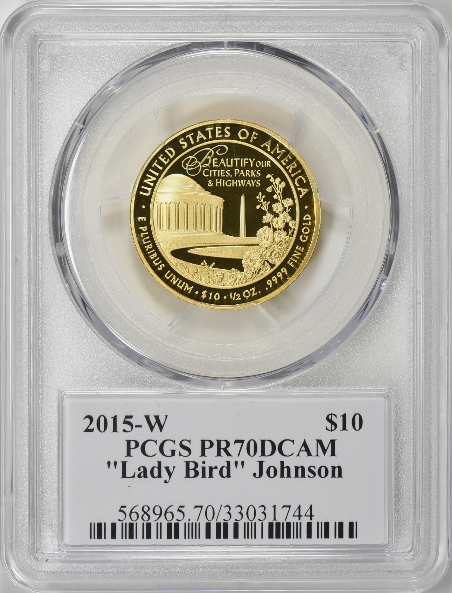 2015-W 10ドル金貨 レディーバード ジョンソン PCGS PR70DCAM John Mercantiサイン入り