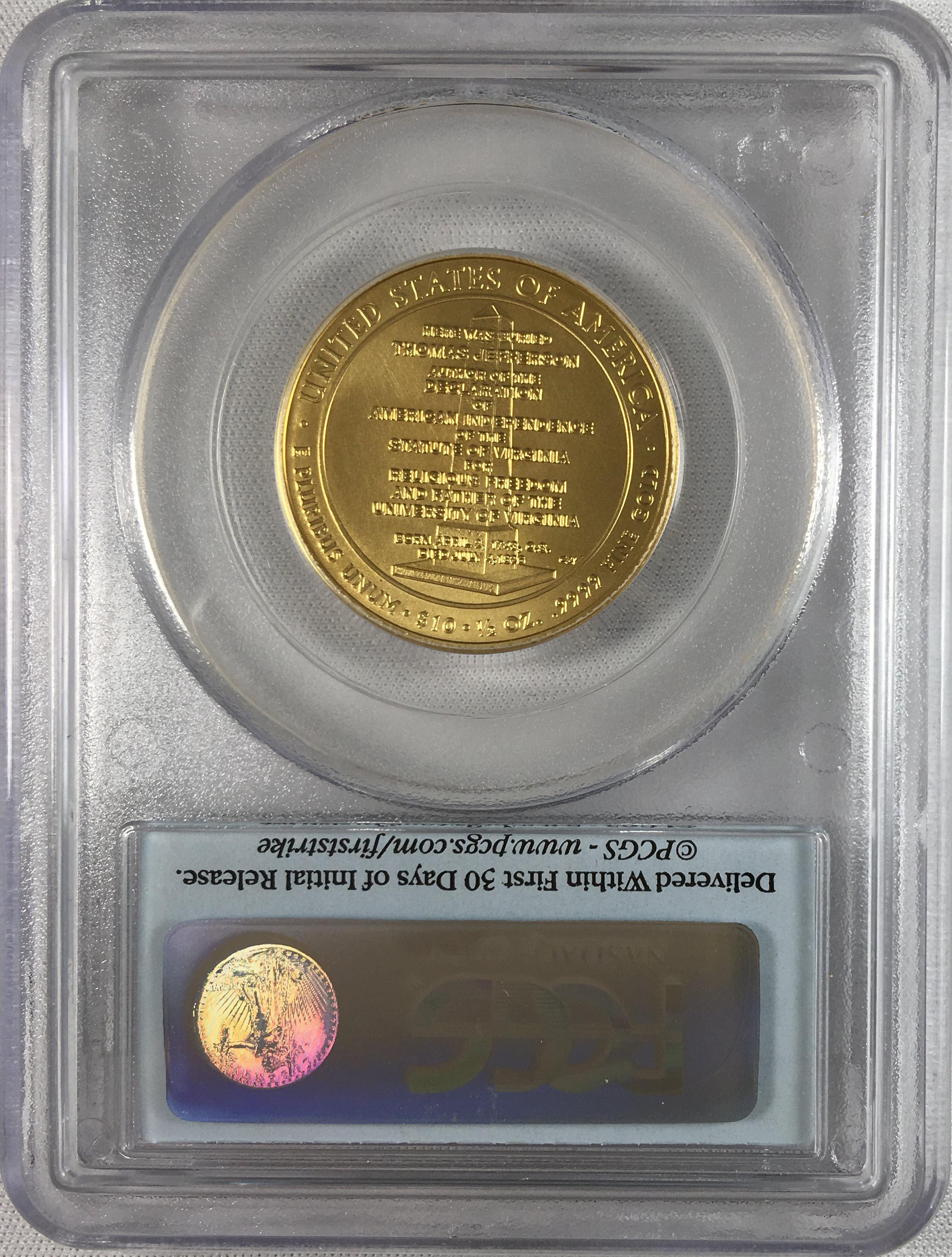 【動画あり】2007-W 10ドル金貨 ジェファーソン リバティ $10 PCGS MS70(First Strike)